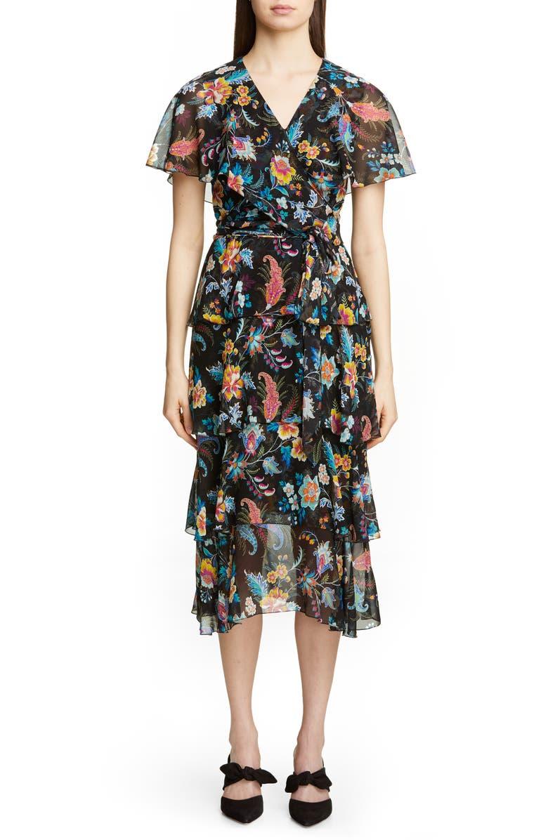 ETRO Fern & Floral Print Ruffle Wrap Dress, Main, color, 001