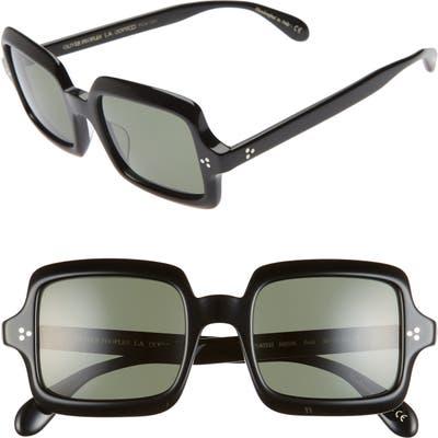 Oliver Peoples Avri 50Mm Square Sunglasses - Black/ G15