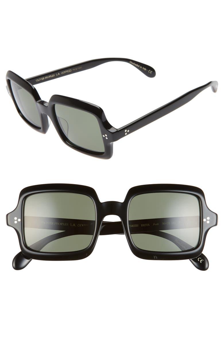 OLIVER PEOPLES Avri 50mm Square Sunglasses, Main, color, 001