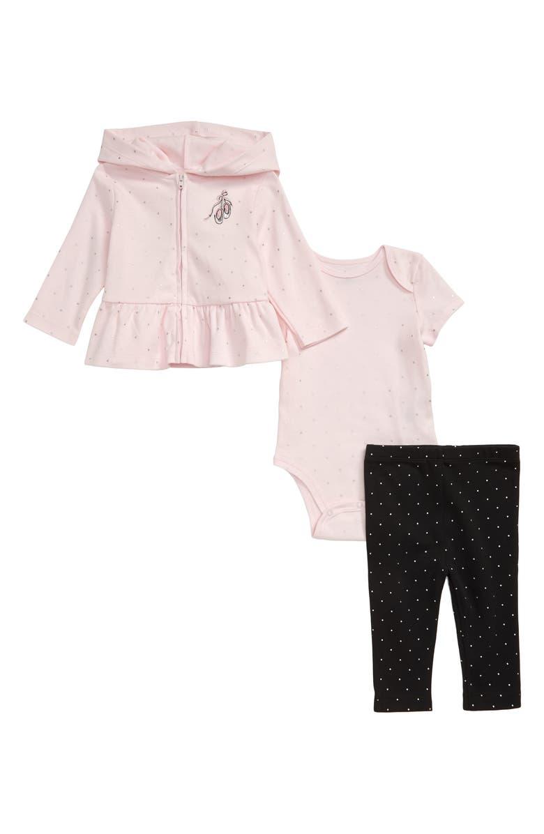 LITTLE ME Ballet Hoodie, Bodysuit & Leggings Set, Main, color, BLACK MULTI