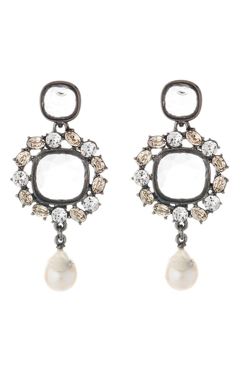 OSCAR DE LA RENTA Runway Jewel Drop Earrings, Main, color, CLEAR