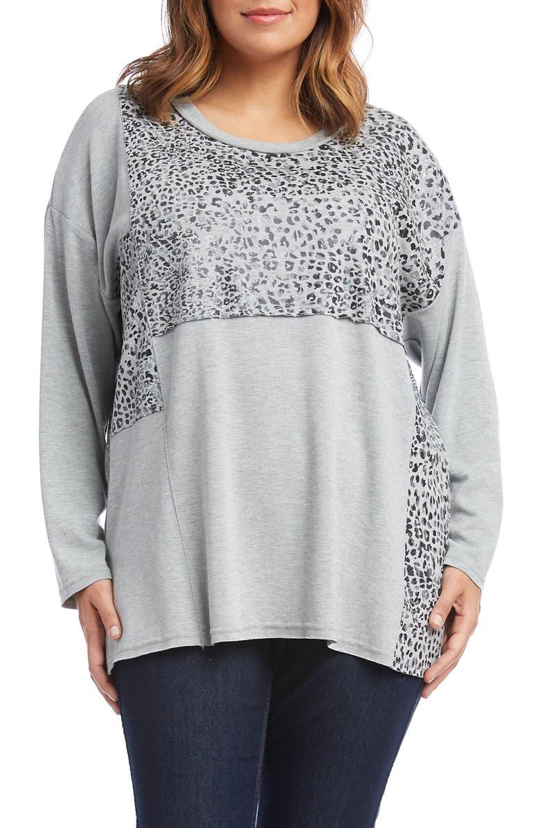 KAREN KANE Leopard Print Contrast Panel Sweater, Main, color, 056