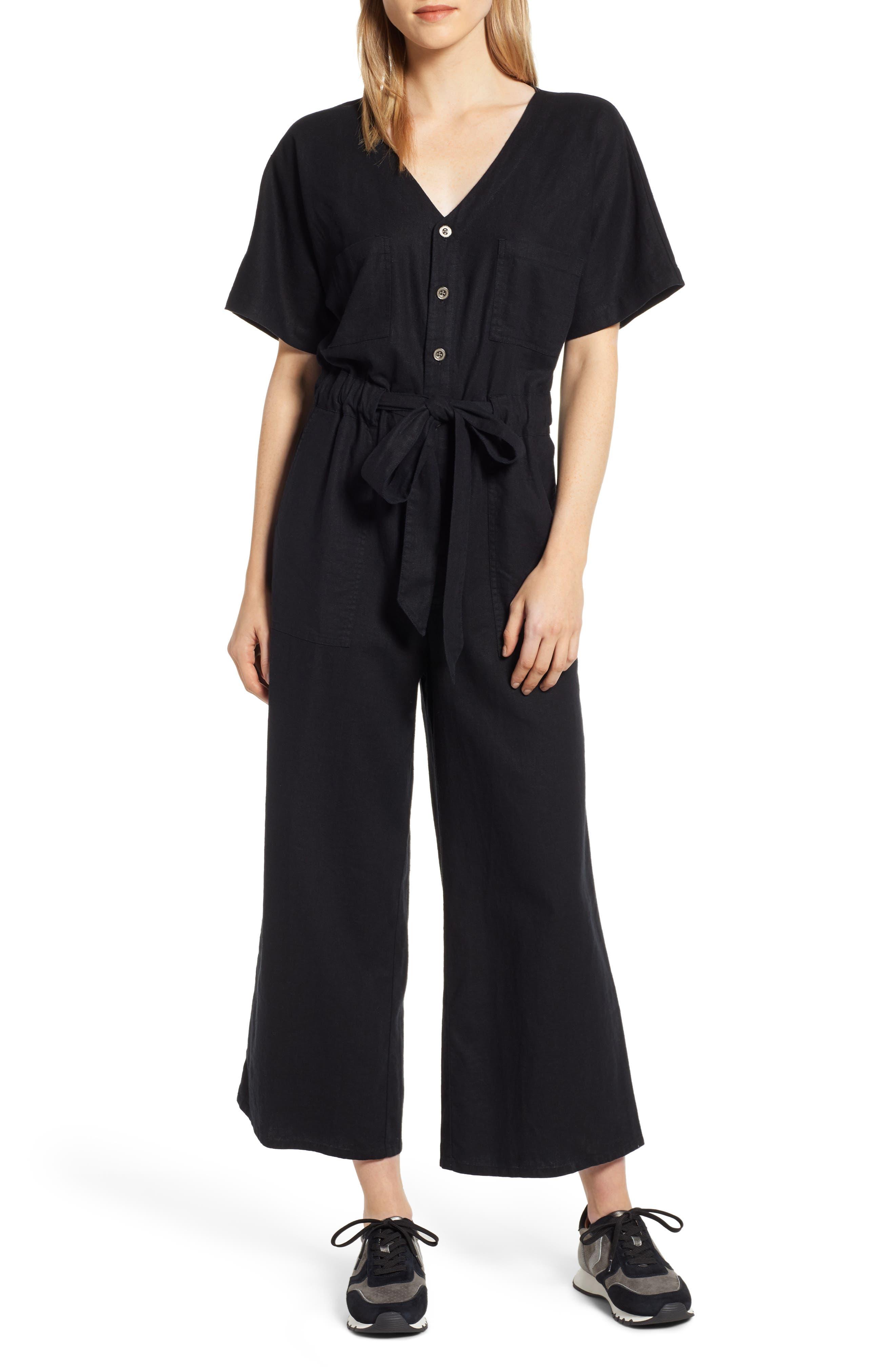 Petite Caslon Linen Blend Jumpsuit, Black