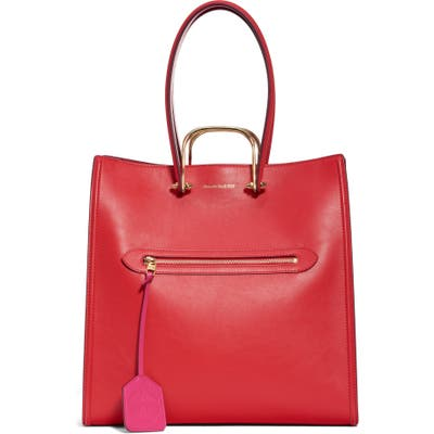 Alexander Mcqueen The Tall Story Leather Tote - Red