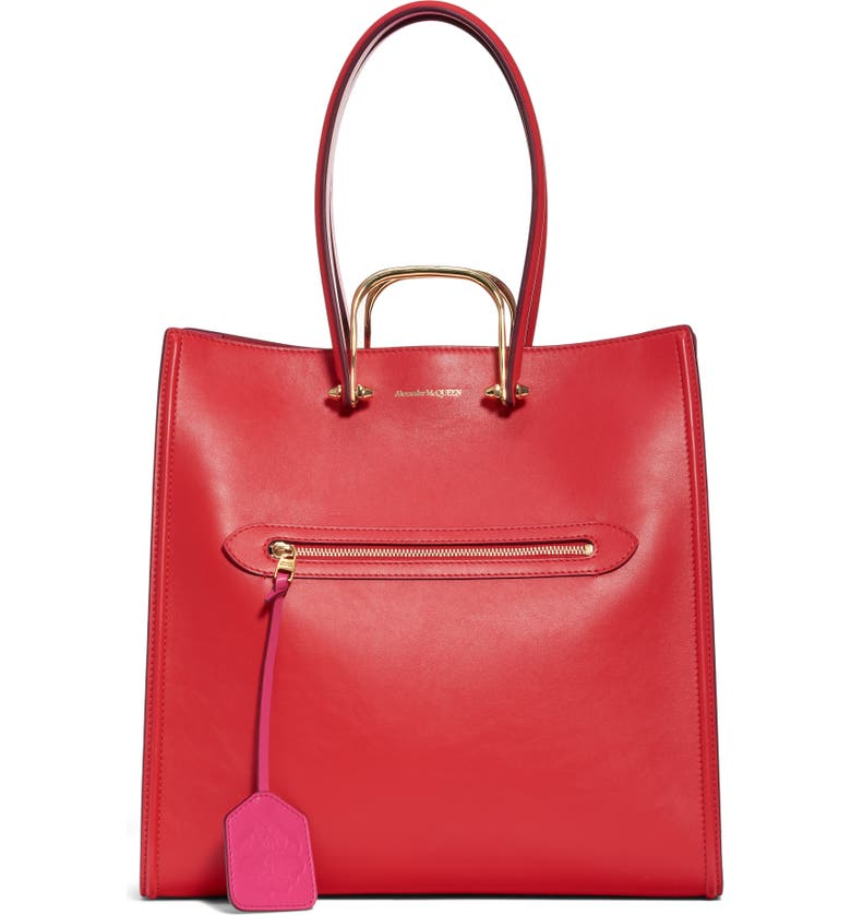 ALEXANDER MCQUEEN The Tall Story Leather Tote, Main, color, NEW RED/ ORCHID PINK