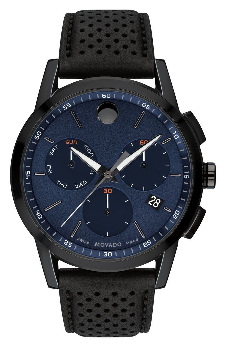 MOVADO Museum Chronograph Leather Strap Watch, 43mm, Main, color, BLACK/ BLUE/ GUNMETAL