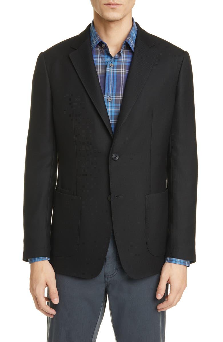 Z ZEGNA TECHMERINO<sup>™</sup> Wash & Go Trim Fit Wool Blazer, Main, color, BLACK