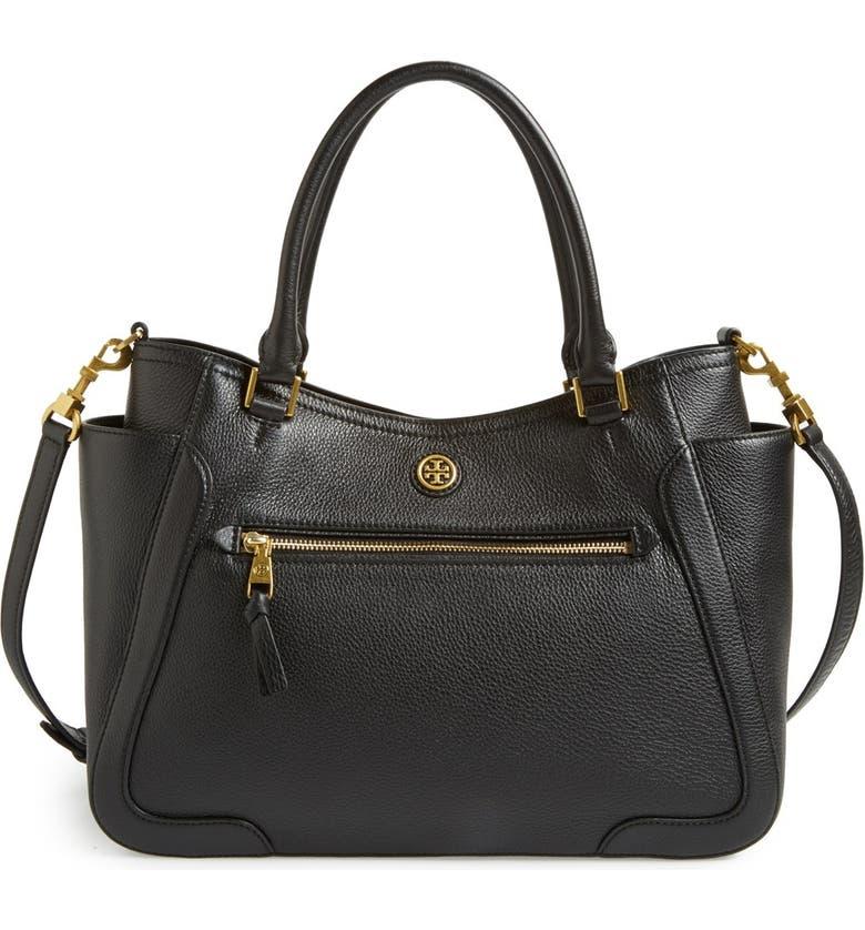 TORY BURCH 'Frances' Leather Satchel, Main, color, Black