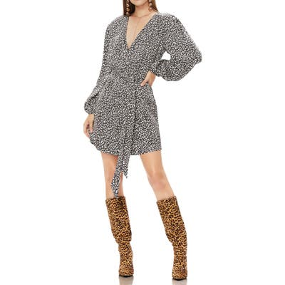 Afrm Milos Long Sleeve Wrap Minidress, Black