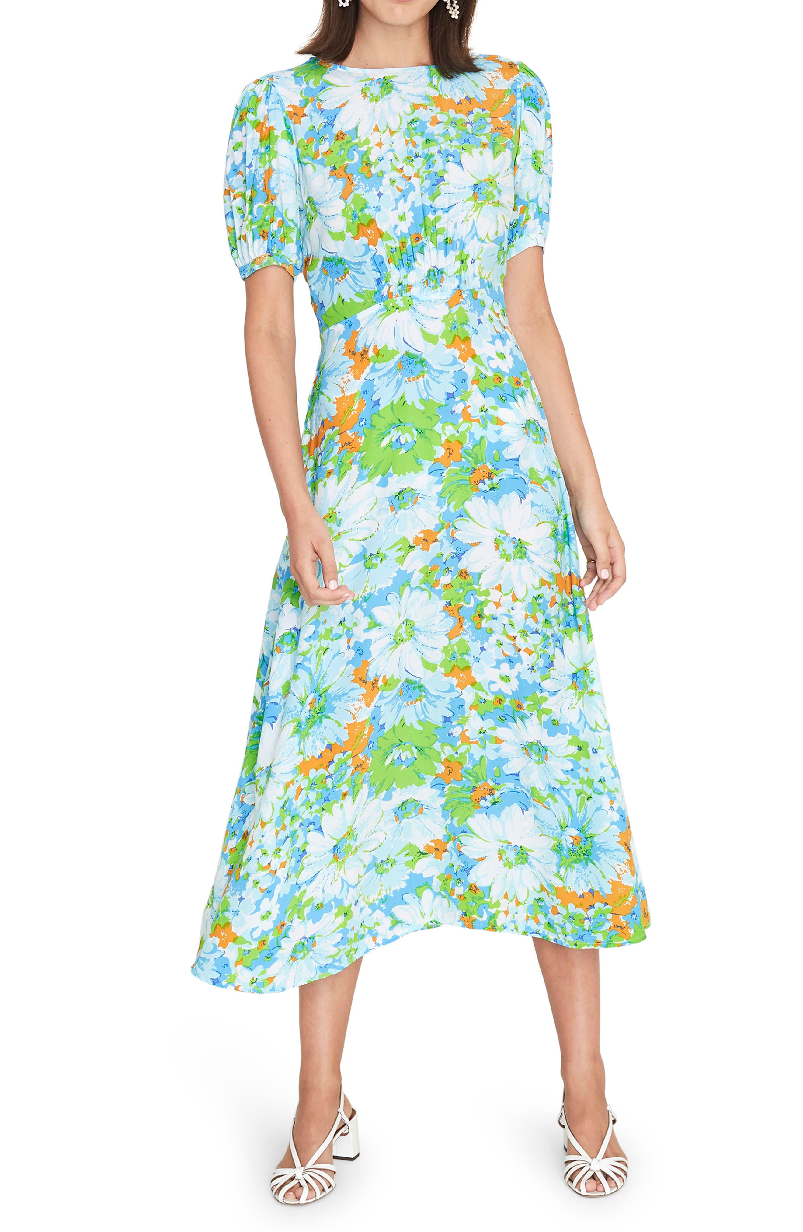 1960s Dresses – A Rainbow of 50 Dresses (Pictures) Womens Faithfull The Brand Beline Floral Midi Dress $113.40 AT vintagedancer.com