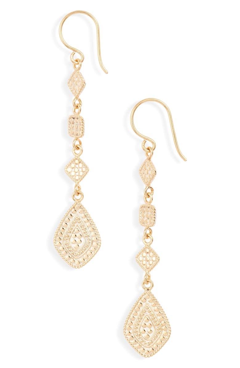 ANNA BECK Long Kite Statement Earrings, Main, color, GOLD