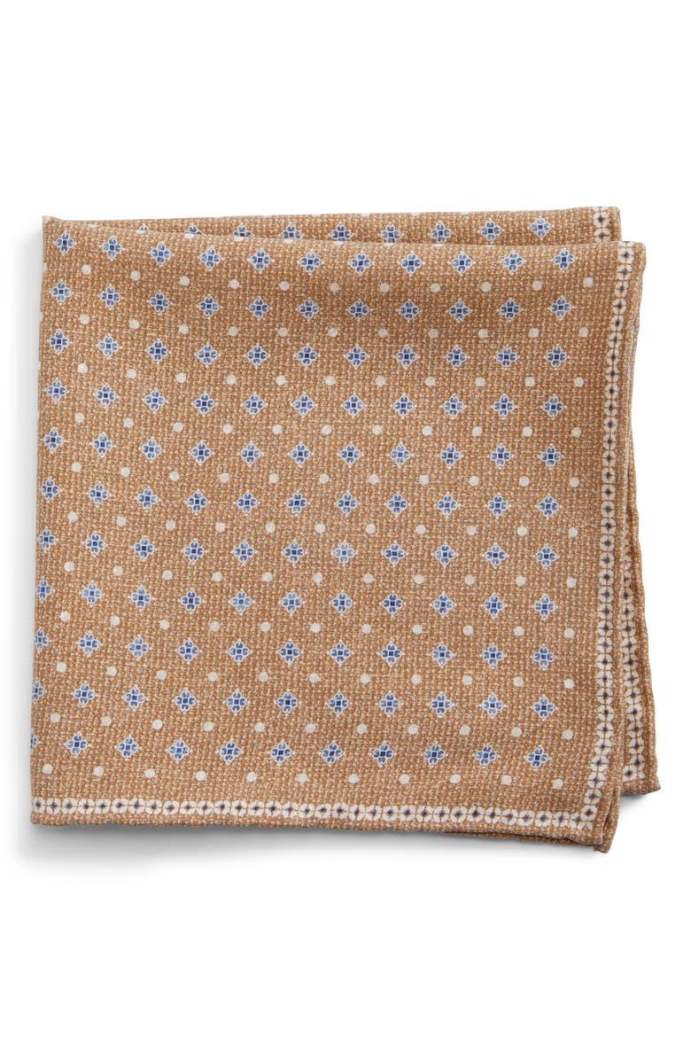 BRUNELLO CUCINELLI Doubleface Silk Pocket Square, Main, color, SAND