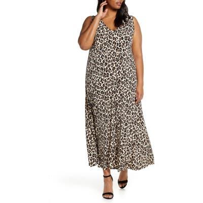 Plus Size Vince Camuto Leopard Knit Maxi Dress, Black