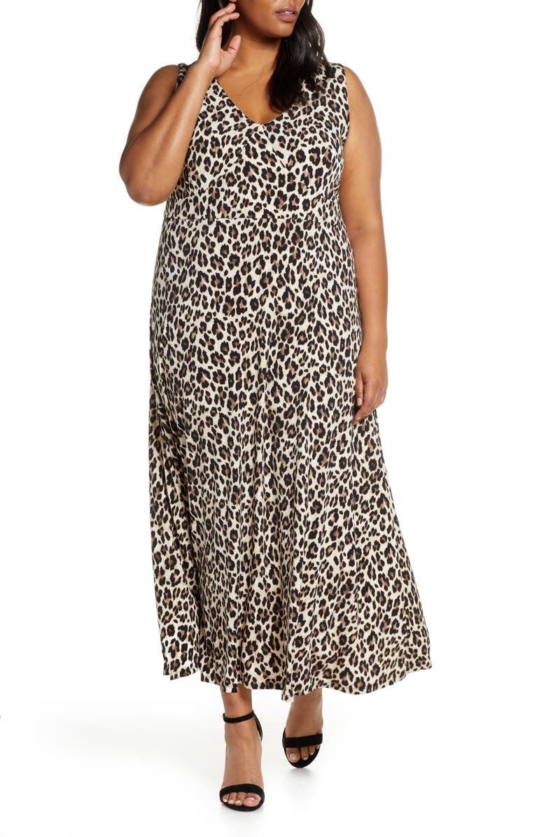 VINCE CAMUTO Leopard Knit Maxi Dress, Main, color, RICH BLACK