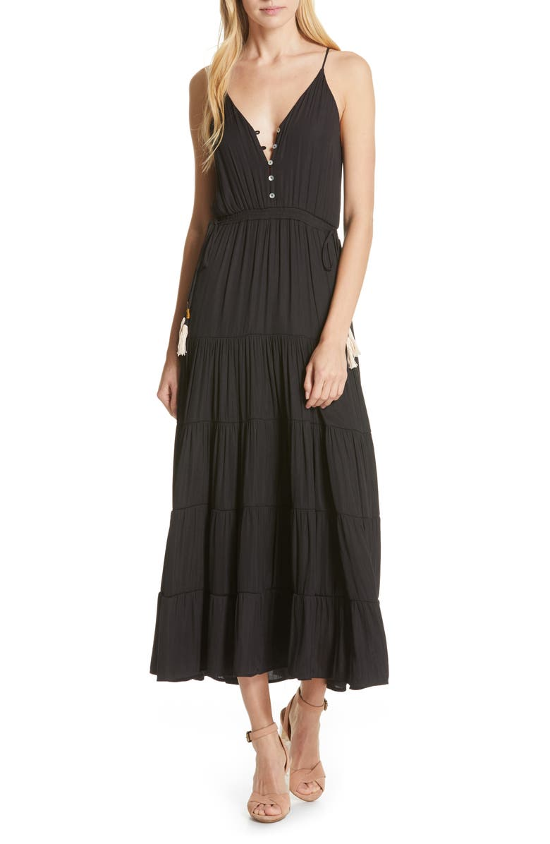DOLAN Annie Tiered Maxi Dress, Main, color, 001