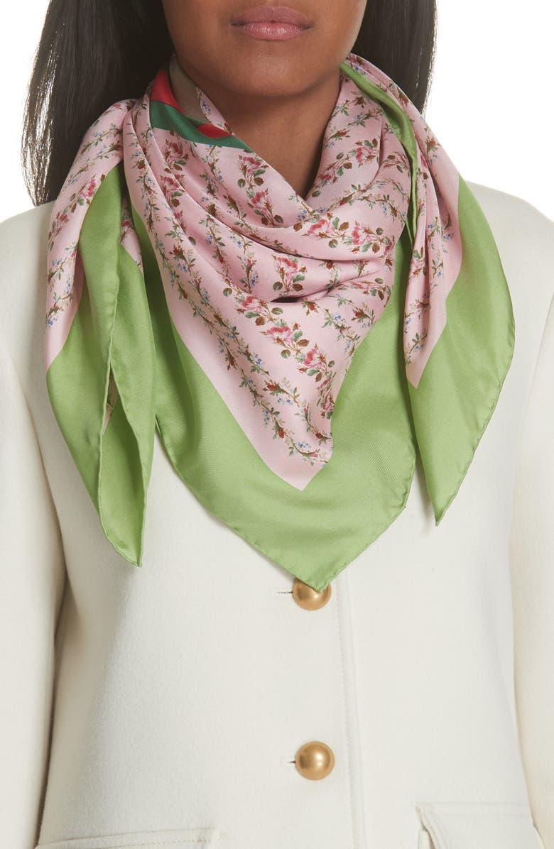 GUCCI Vintage Rose Foulard Silk Scarf, Main, color, 691
