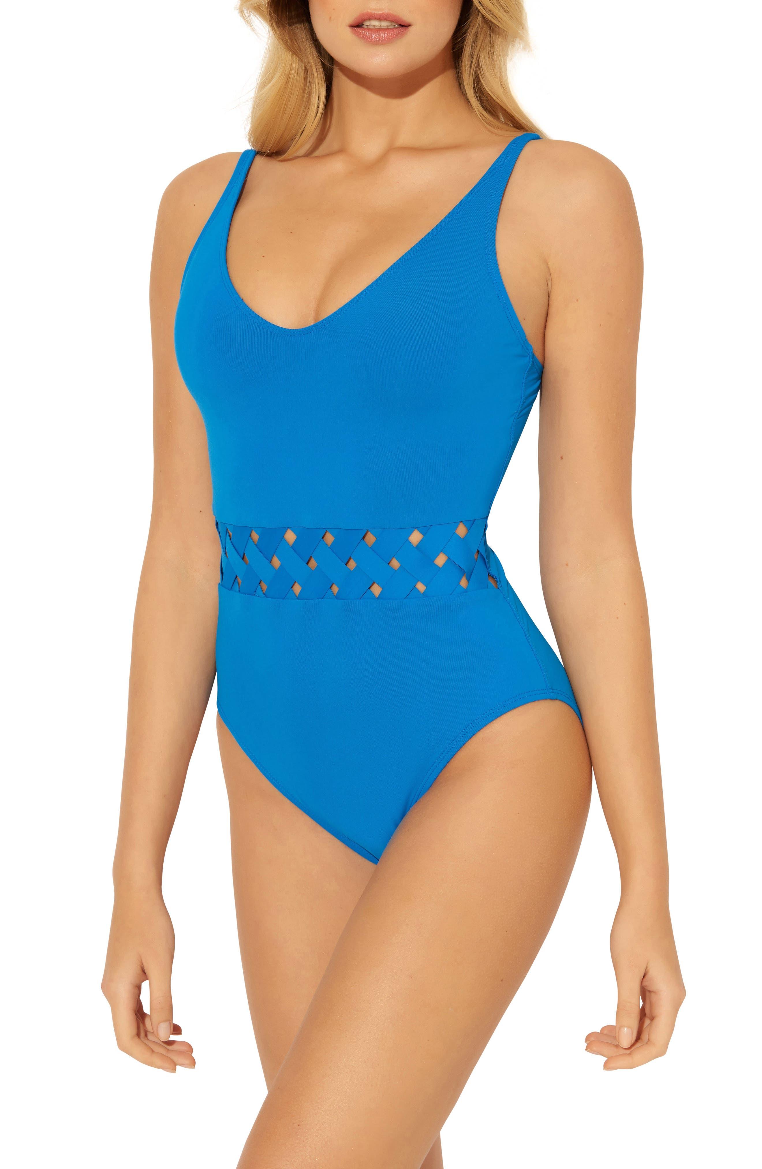 Bleu By Rod Beattie Basket Weave One-Piece Swimsuit, Blue