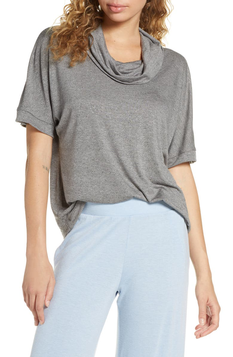SOCIALITE Boxy Funnel Neck Top, Main, color, GREY CHIME