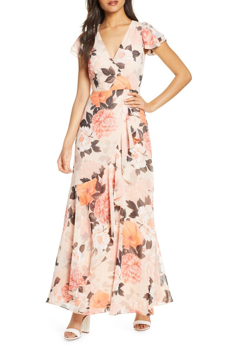 ELIZA J Faux Wrap Maxi Dress, Main, color, BLUSH