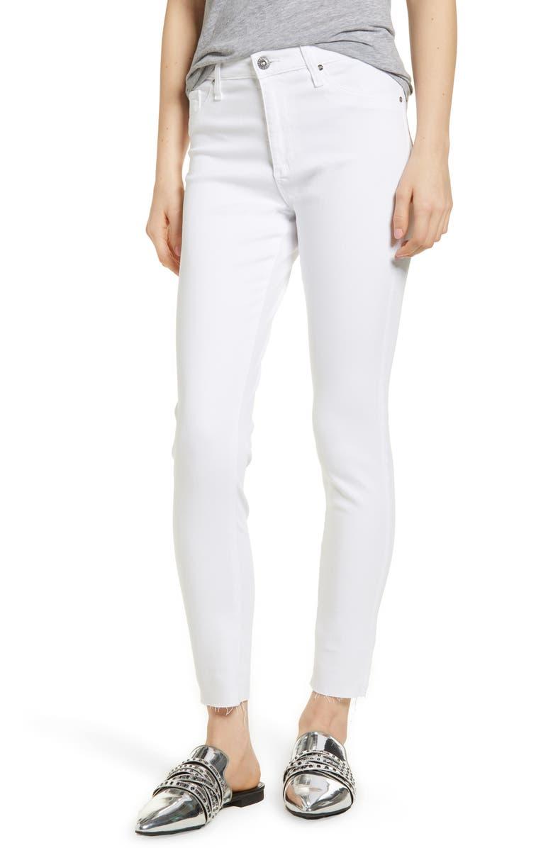 AG The Farrah High Waist Raw Hem Ankle Skinny Jeans, Main, color, WHITE