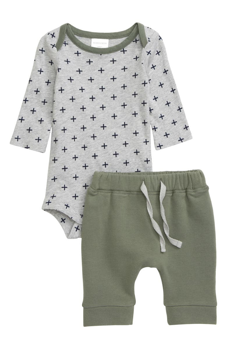 NORDSTROM BABY Long Sleeve Bodysuit & Sweatpants Set, Main, color, GREY ASH HEATHER GEO