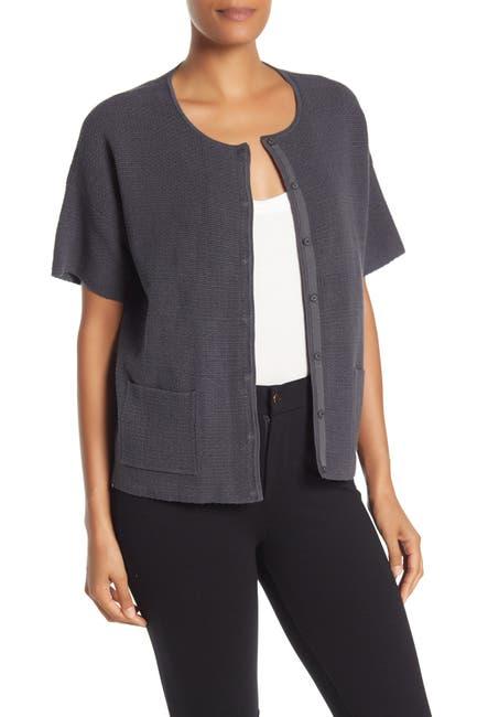 Image of Eileen Fisher Short Sleeve Silk Blend Cardigan
