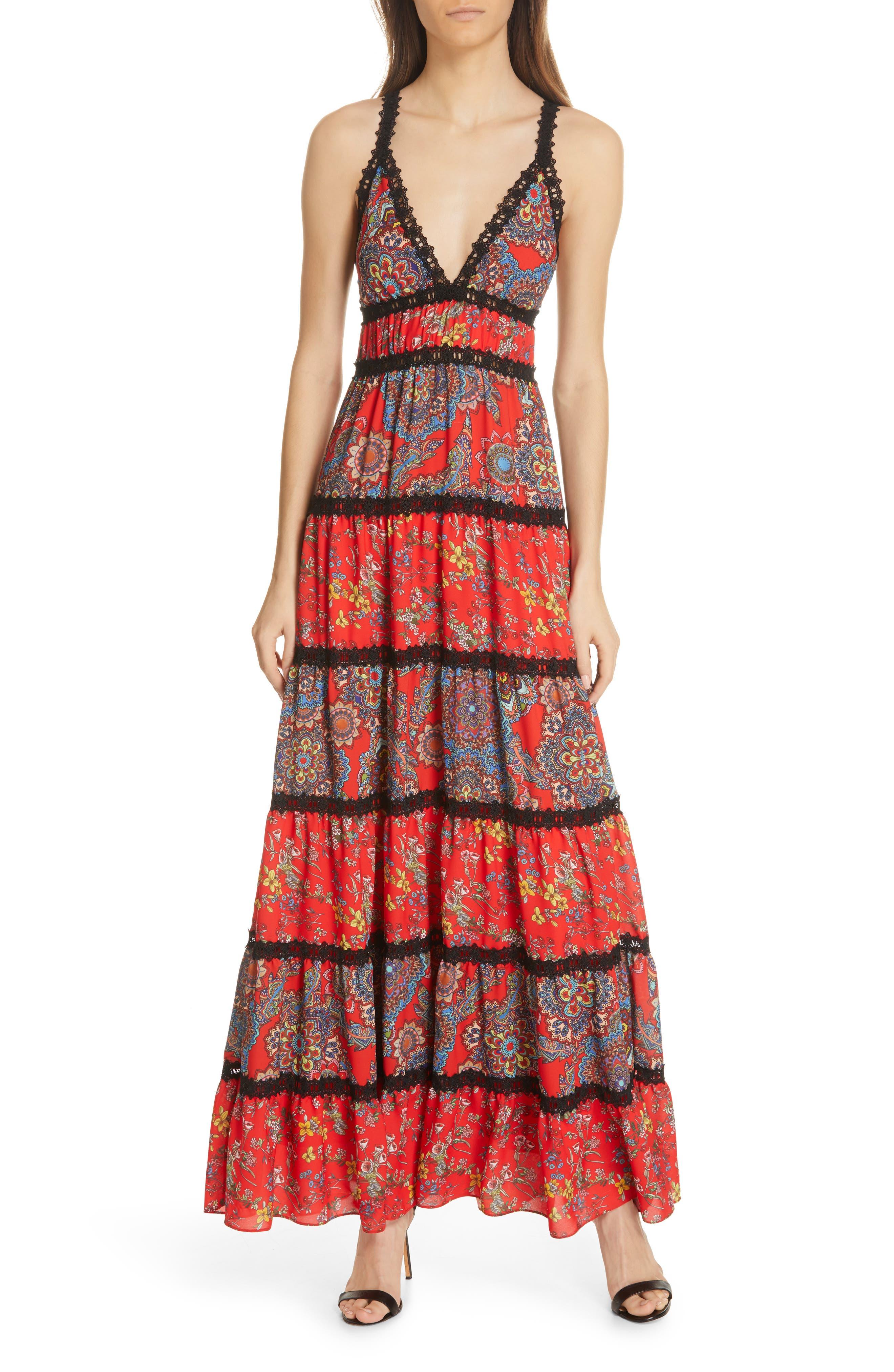 Alice + Olivia Karolina Mixed Print Maxi Dress, Red