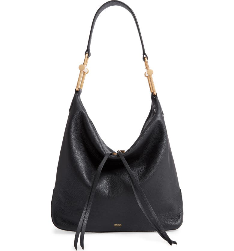 BOSS Small Christy Leather Hobo, Main, color, BLACK