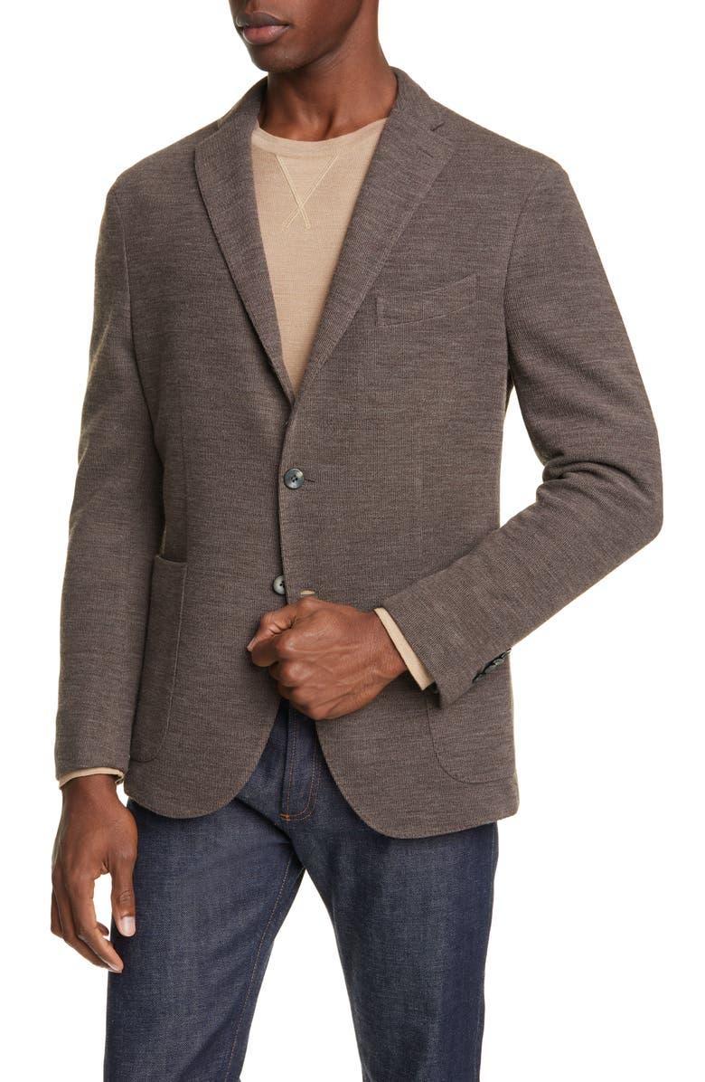 BOGLIOLI Trim Fit Military Knit Wool & Cotton Sport Coat, Main, color, SAND