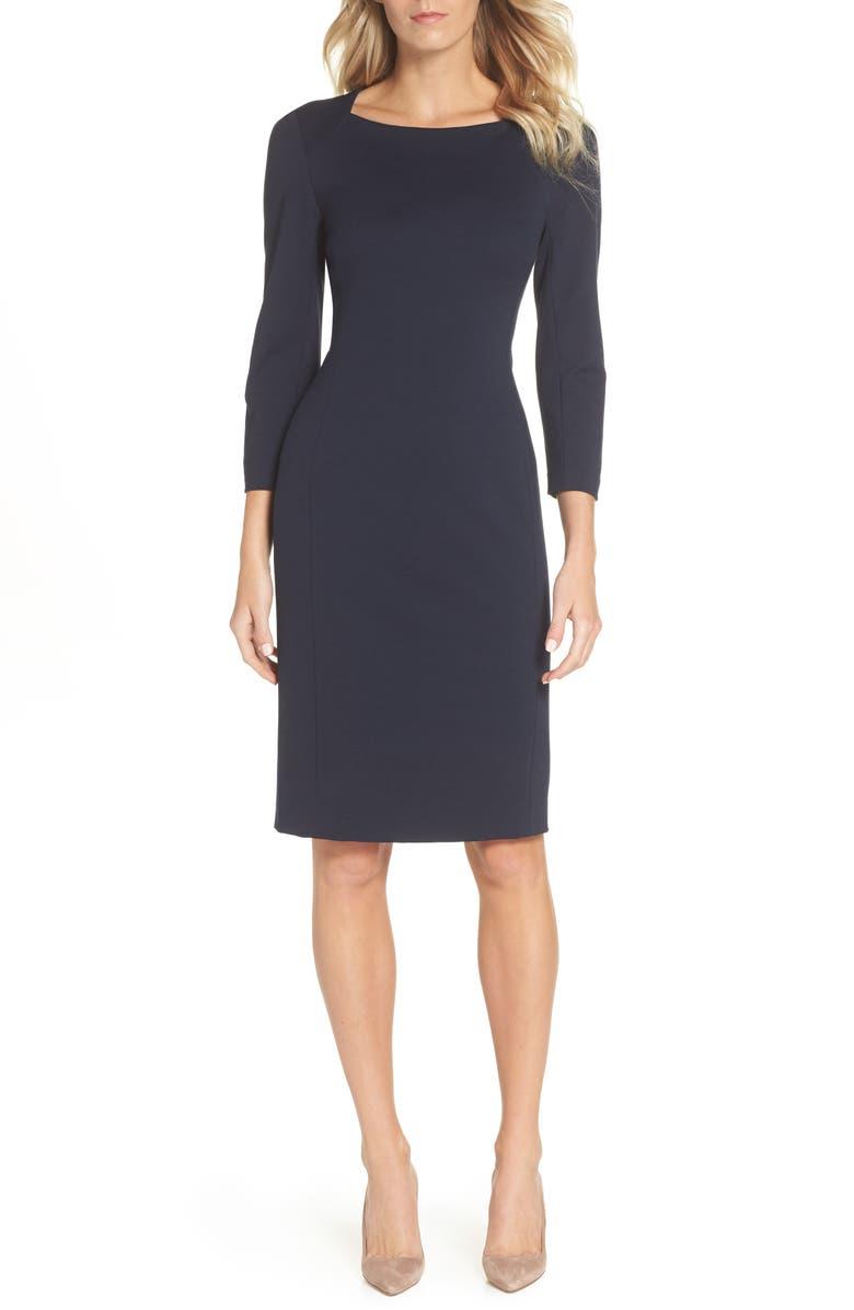 ELIZA J Back Cutout Ponte Sheath Dress, Main, color, 440