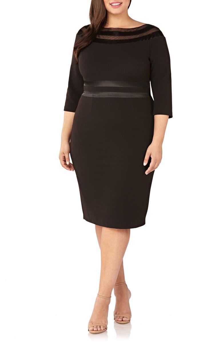 JS COLLECTIONS Illusion Trim Cocktail Dress, Main, color, BLACK
