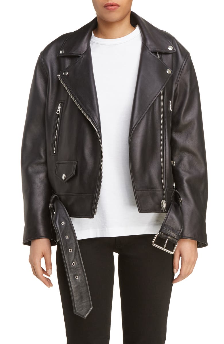 ACNE STUDIOS Merlyn Leather Moto Jacket, Main, color, 001