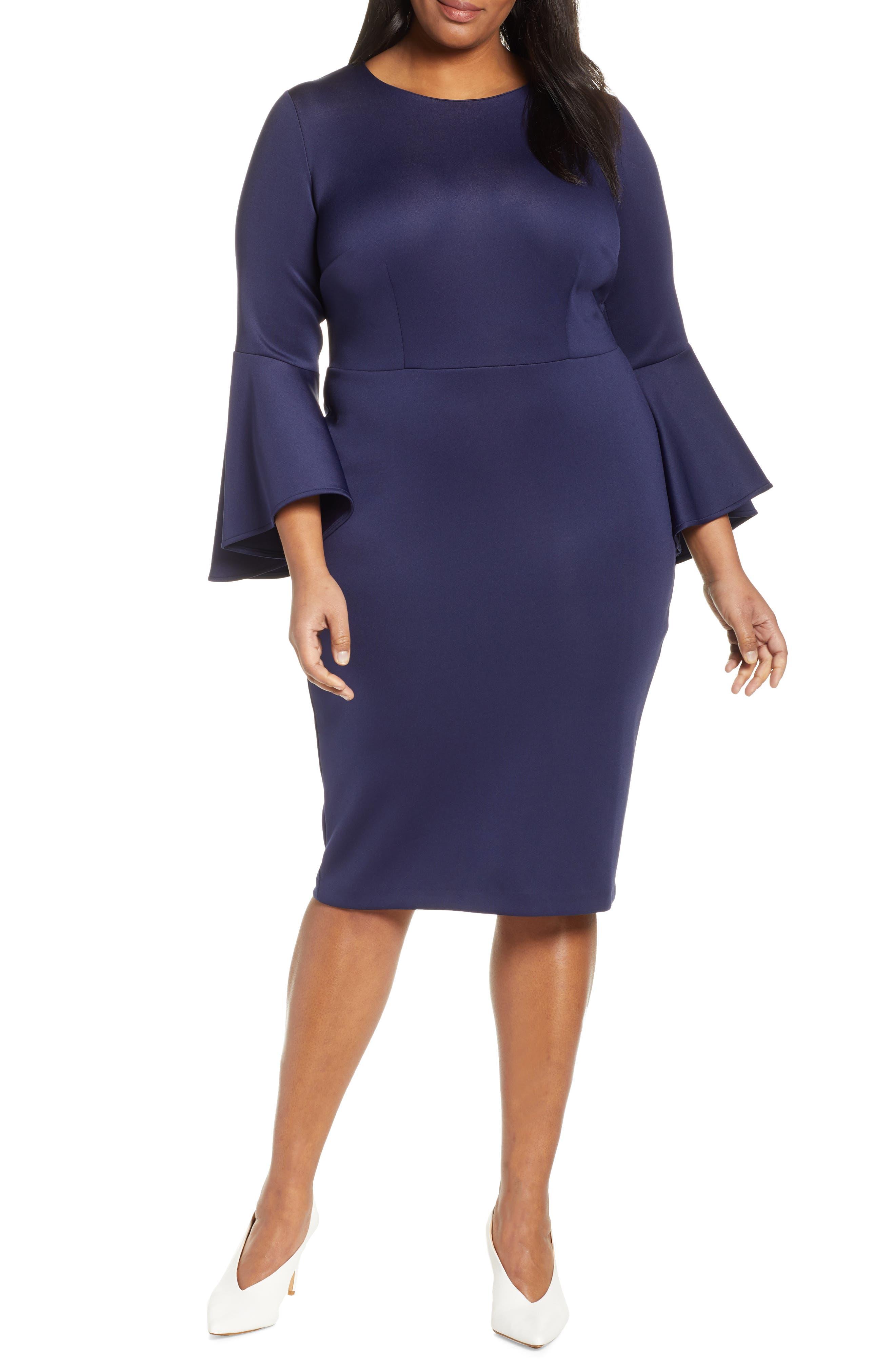 Plus Size Eloquii Flare Sleeve Scuba Sheath Dress, Blue