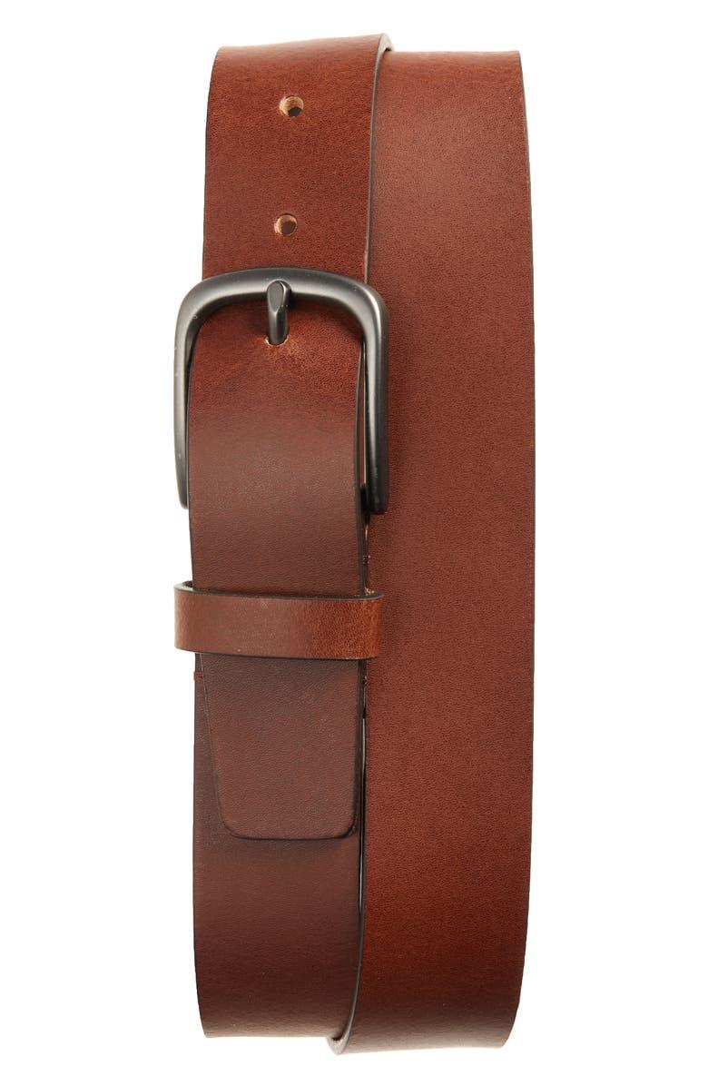 NORDSTROM MEN'S SHOP Dalton Leather Belt, Main, color, COGNAC
