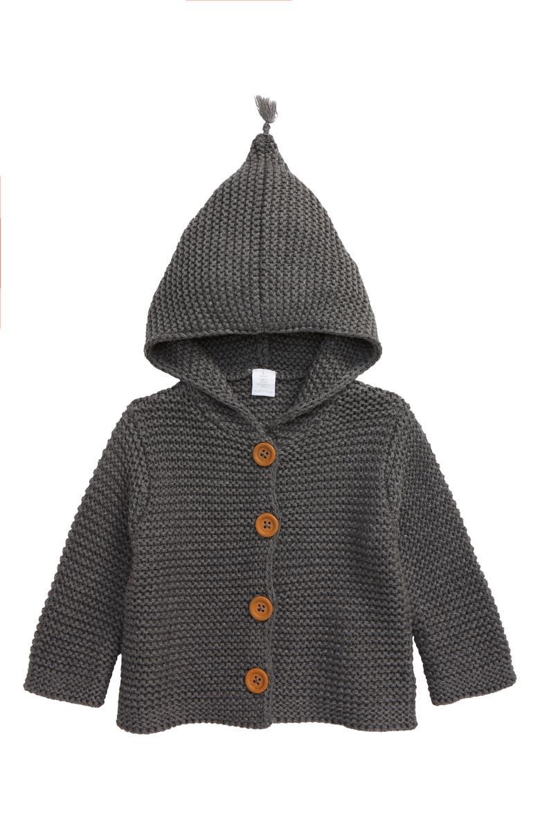 NORDSTROM Baby Organic Cotton Hooded Cardigan, Main, color, GREY STONEHENGE HEATHER