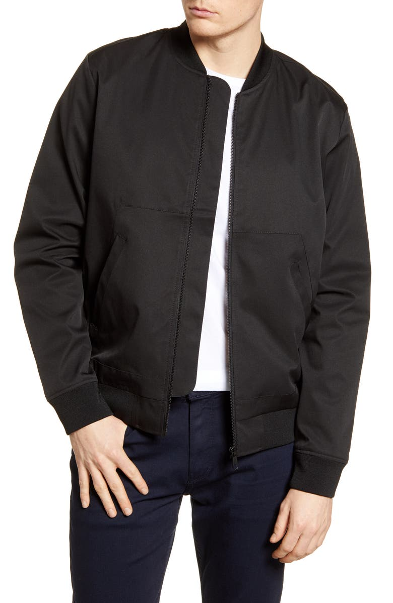 TOPMAN Icon Classic Bomber Jacket, Main, color, BLACK
