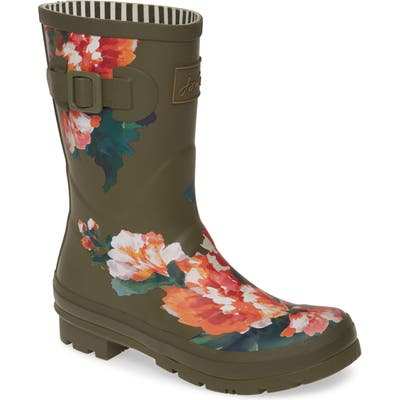 Joules Print Molly Welly Rain Boot, Green