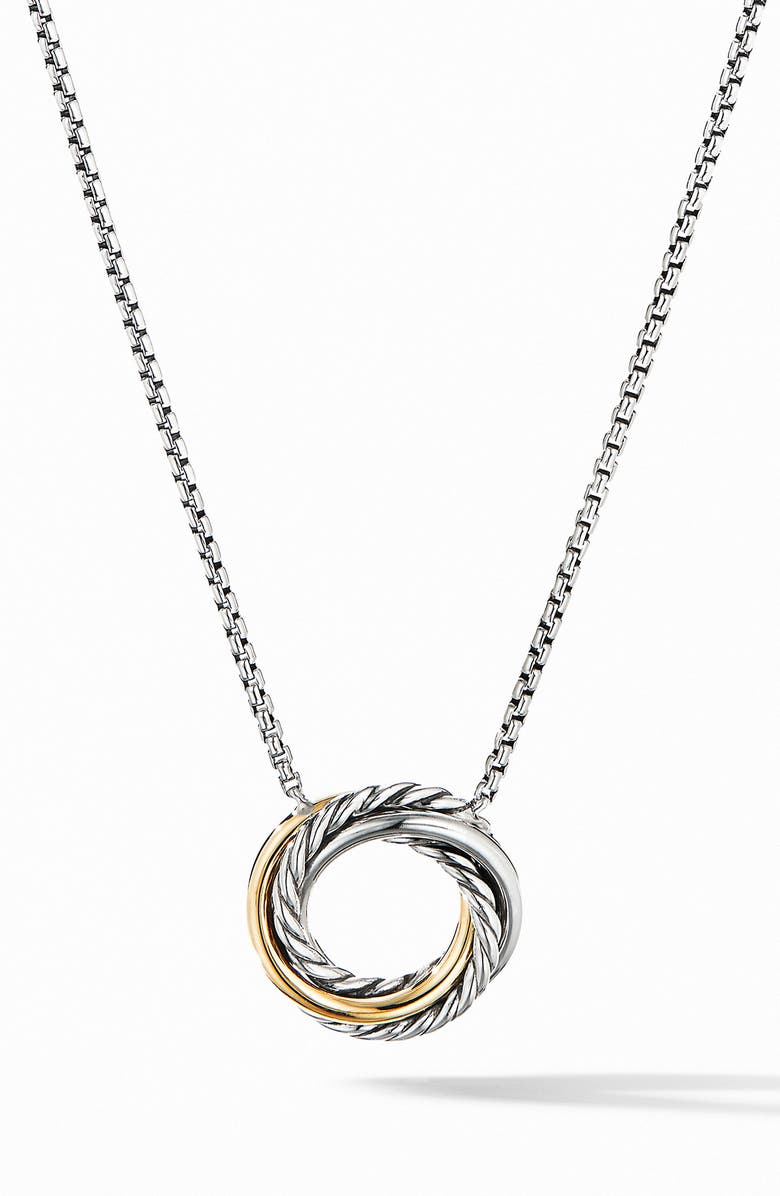 DAVID YURMAN Crossover Mini Pendant Necklace with 18K Yellow Gold, Main, color, SILVER/ GOLD