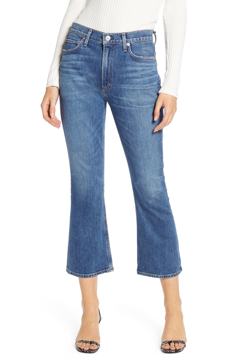 CITIZENS OF HUMANITY Demy High Waist Crop Flare Jeans, Main, color, SOLO