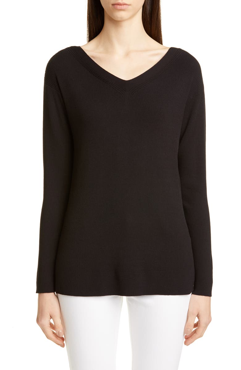 LAFAYETTE 148 NEW YORK Wide V-Neck Tunic Sweater, Main, color, BLACK