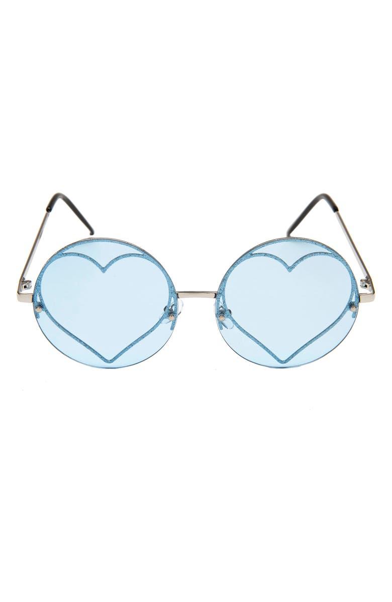 RAD + REFINED Glitter Heart Round Sunglasses, Main, color, BLUE