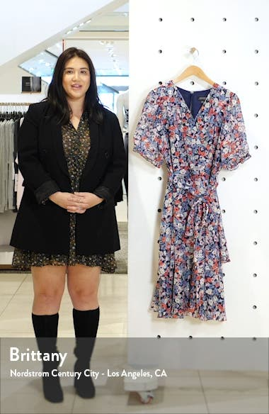 Floral Clip Dot Faux Wrap Dress, sales video thumbnail