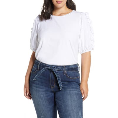 Plus Size Eloquii Ruffle Puff Sleeve Top, /16W - White
