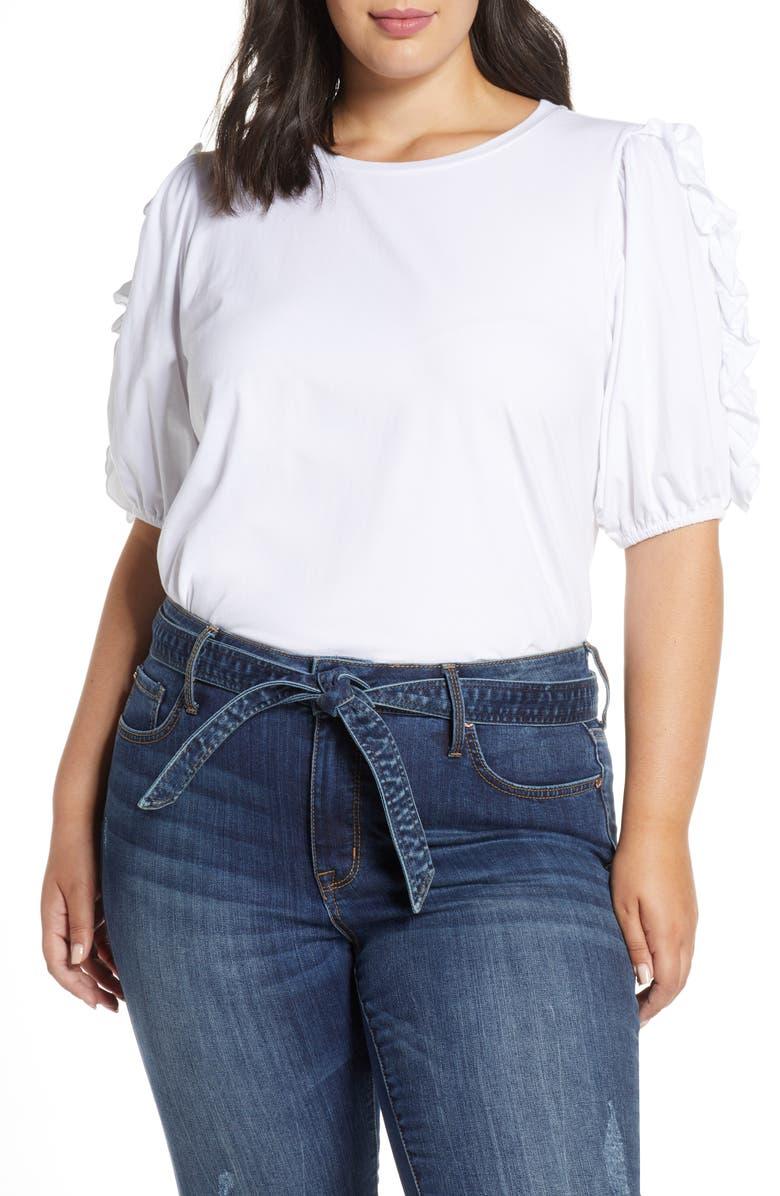 ELOQUII Ruffle Puff Sleeve Top, Main, color, SOFT WHITE