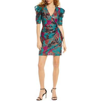 Harlyn Sequin Embroidered Puff Sleeve Cocktail Dress, Blue/green