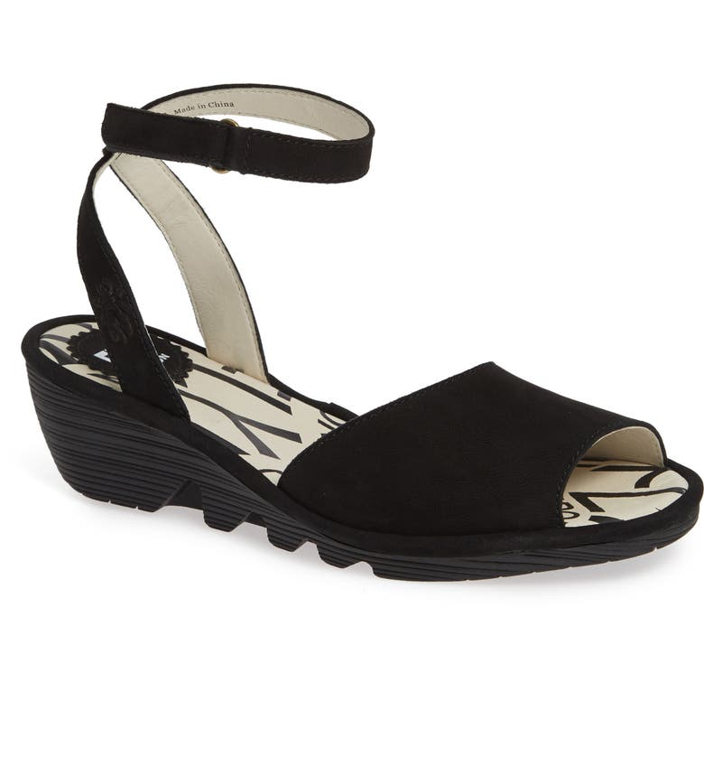 FLY LONDON Pato Wedge Sandal, Main, color, BLACK LEATHER