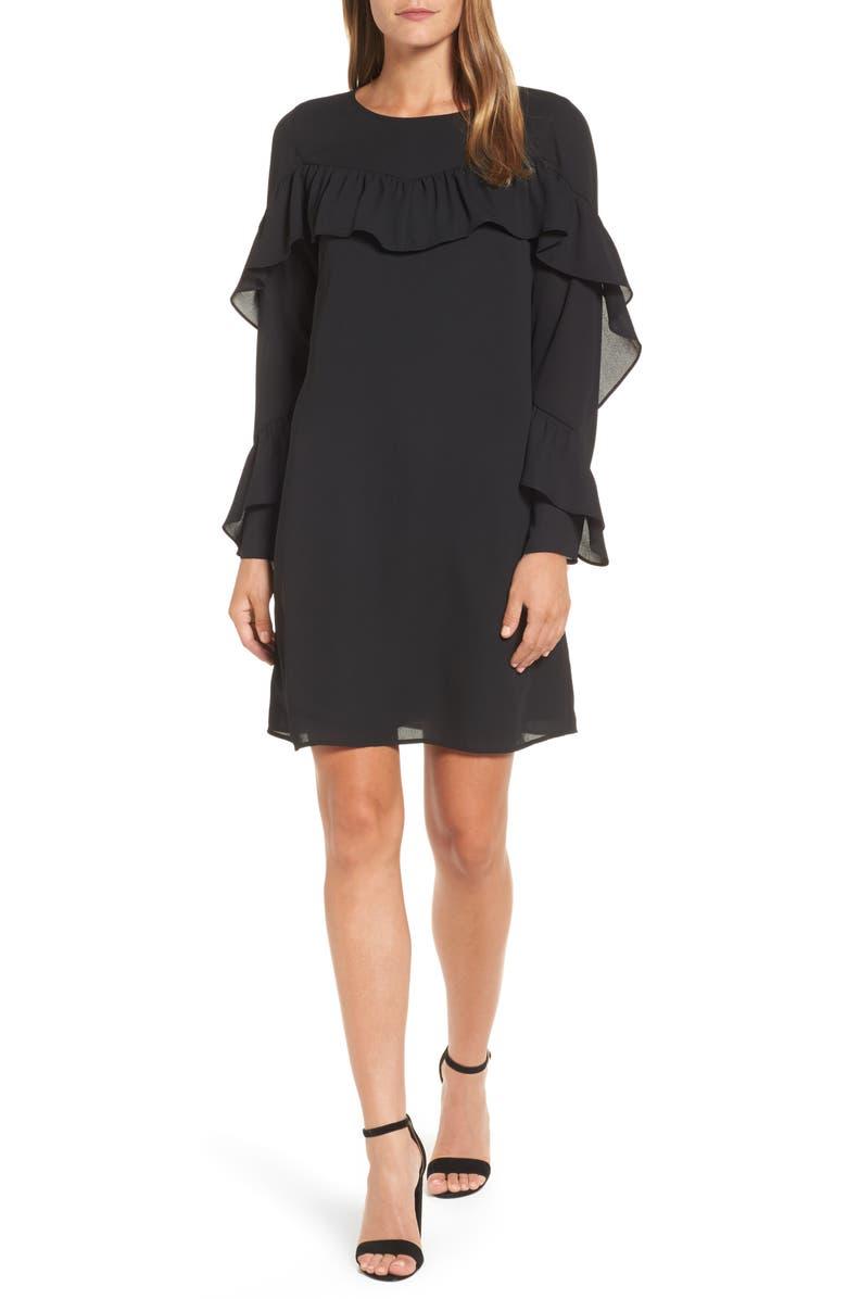 HALOGEN<SUP>®</SUP> Ruffle Shift Dress, Main, color, 001