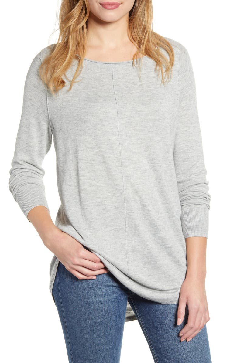 CASLON<SUP>®</SUP> Shirttail Tunic Sweater, Main, color, GREY HEATHER
