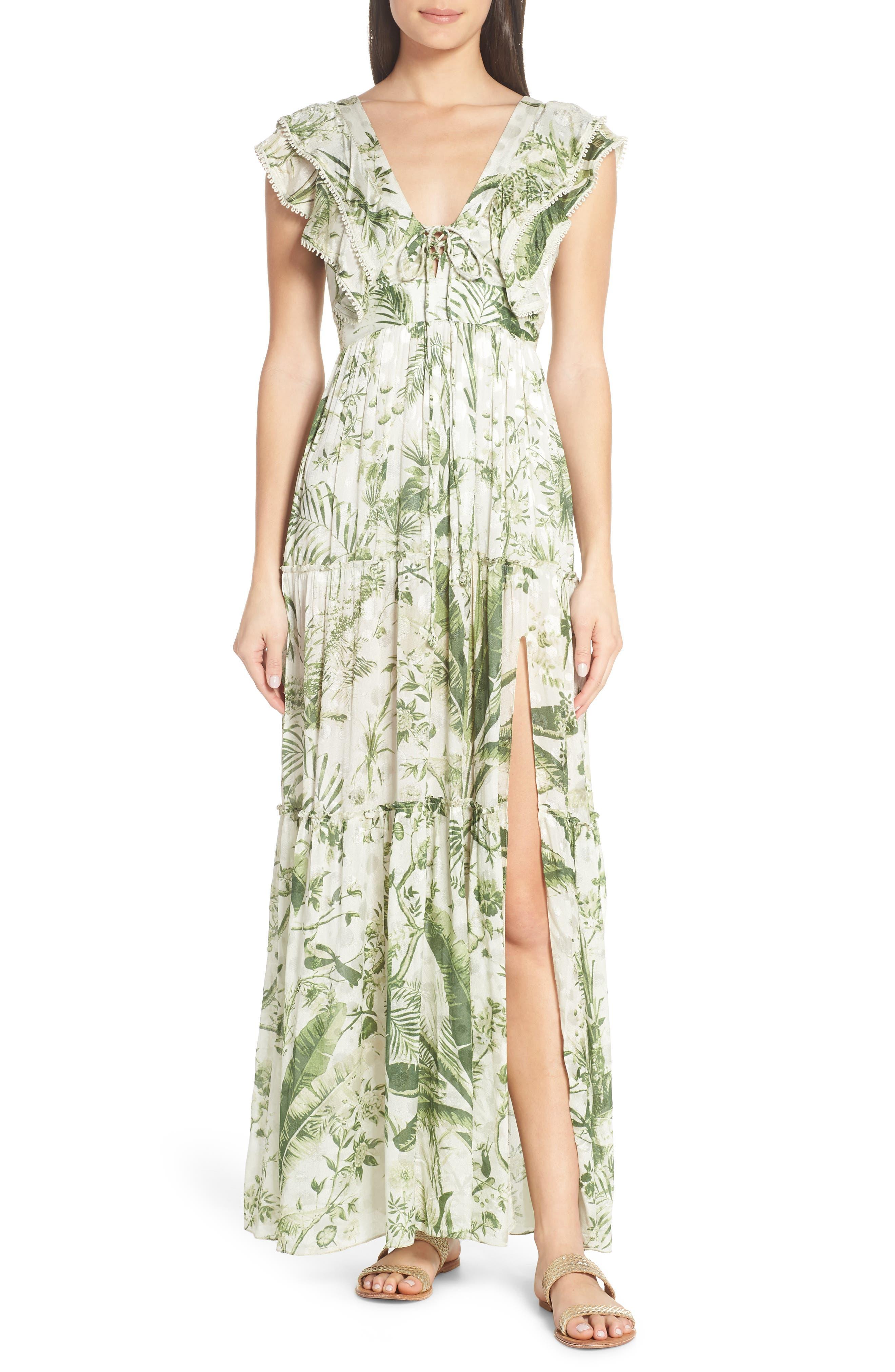 Hemant & Nandita Plunge Cover-Up Maxi Dress, Green
