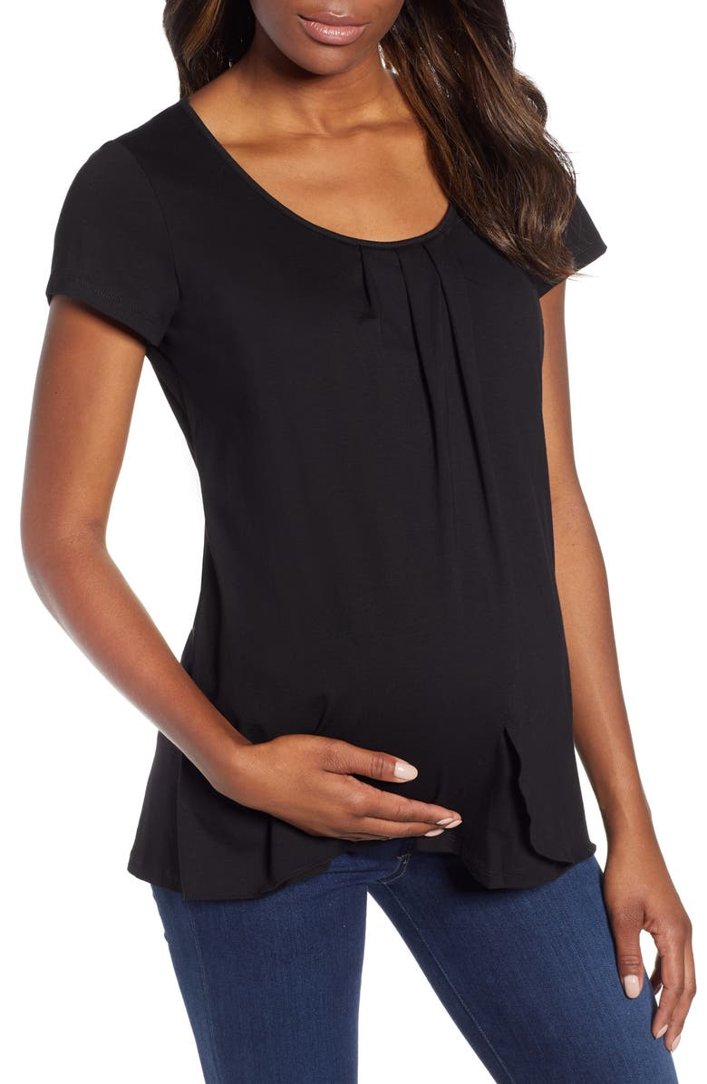 ANGEL MATERNITY Petal Front Maternity Shirt, Main, color, BLACK
